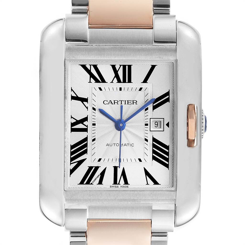 Cartier Tank Anglaise Large Steel 18K Rose Gold Watch W5310007 Box SwissWatchExpo