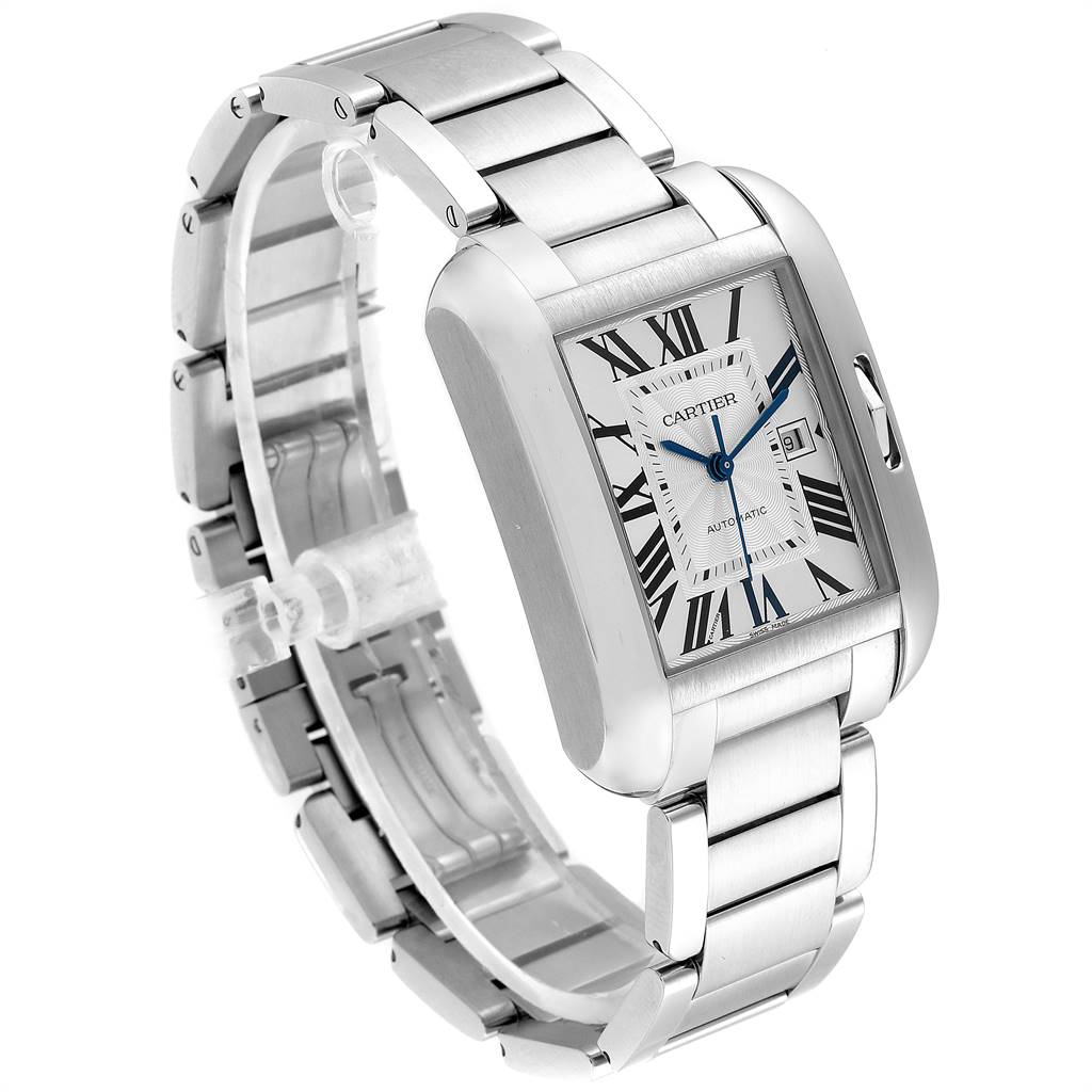 24890 Cartier Tank Anglaise Silver Dial Steel Large Mens Watch W5310009 SwissWatchExpo