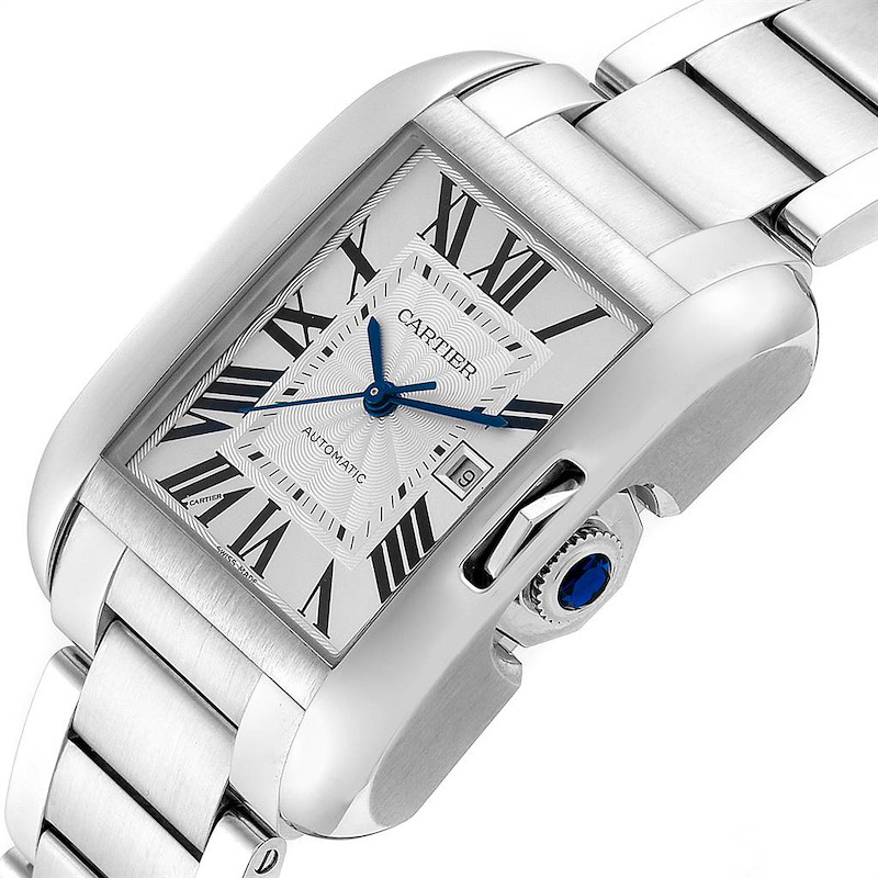 Cartier Tank Anglaise Silver Dial Steel Large Mens Watch W5310009 SwissWatchExpo
