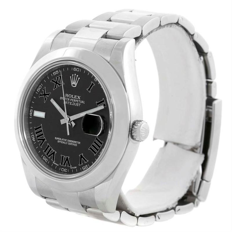 Rolex Datejust II Black Roman Dial Mens Stainless Steel Watch 116300 SwissWatchExpo
