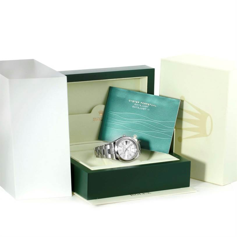 Rolex Datejust II Silver Dial Mens Stainless Steel Watch 116300 SwissWatchExpo
