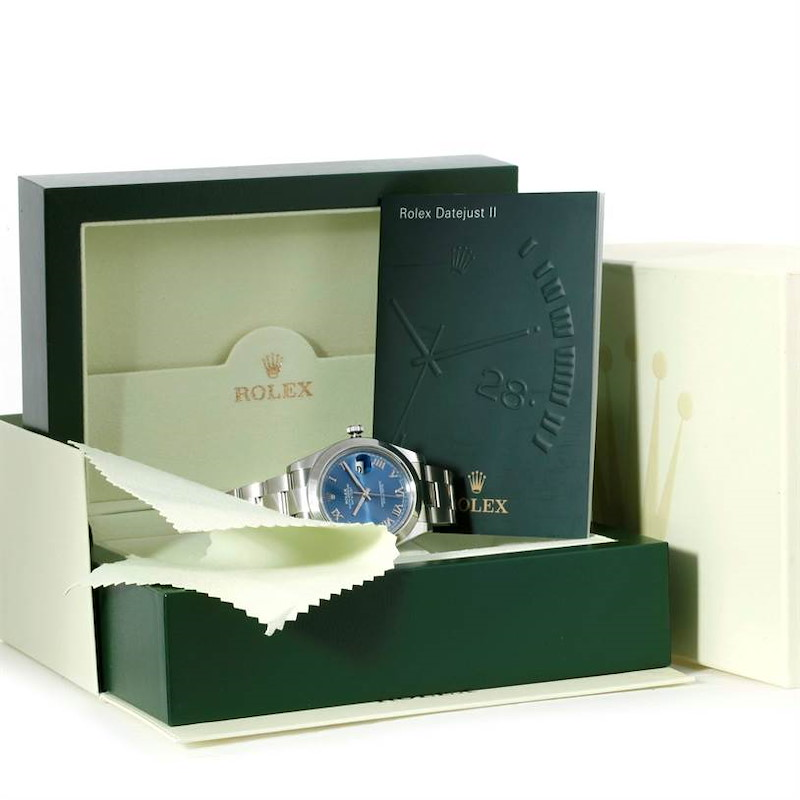 Rolex Datejust II Blue Roman Dial Mens Stainless Steel Watch 116300 SwissWatchExpo