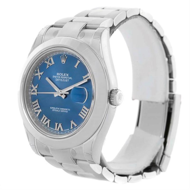 Rolex Datejust II Blue Roman Dial Stainless Steel Watch 116300 Unworn SwissWatchExpo