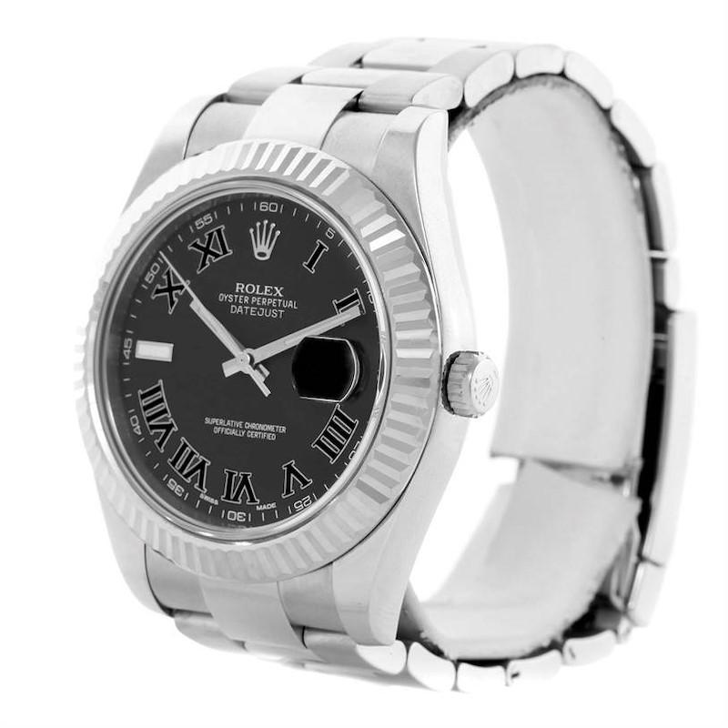 Rolex Datejust II Mens Steel 18K Whie Gold Dark Grey Dial Watch 116334 SwissWatchExpo