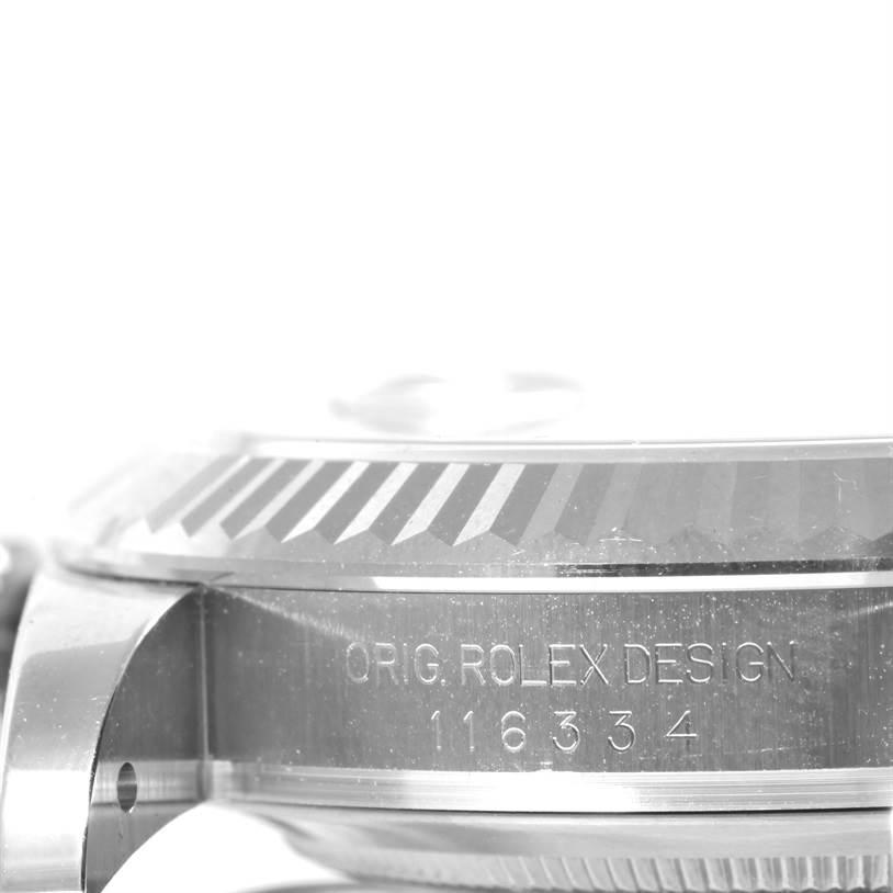 Rolex Datejust II Mens Steel 18K White Gold Black Dial Watch 116334 SwissWatchExpo