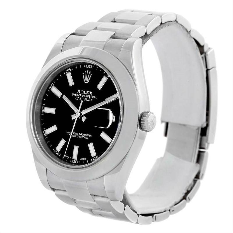Rolex Datejust II Black Dial Mens Stainless Steel Watch 116300 SwissWatchExpo