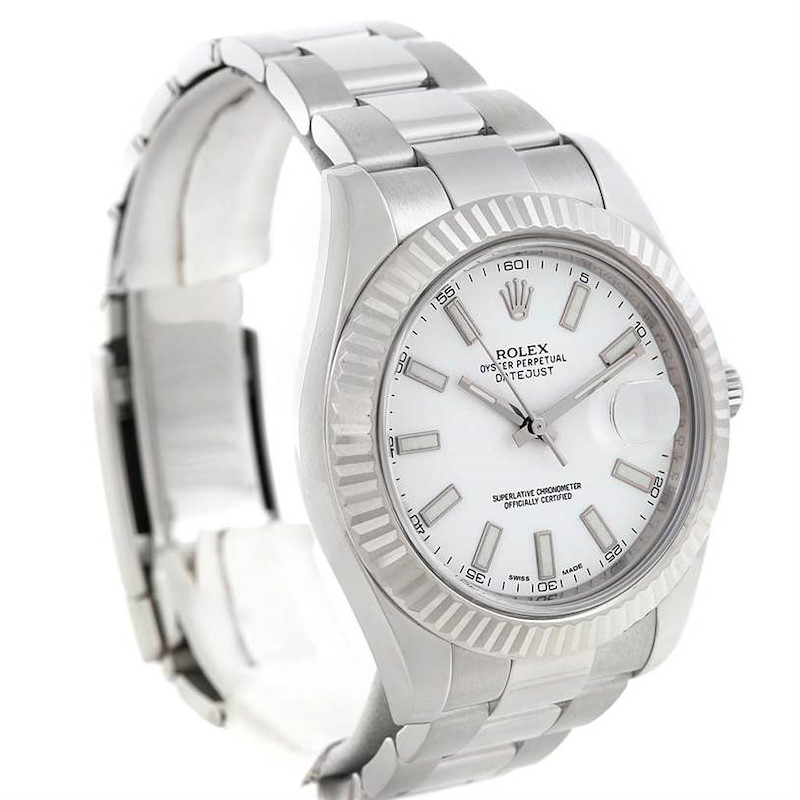 Rolex Datejust II White Dial Mens Steel 18K White Gold Watch 116334 SwissWatchExpo