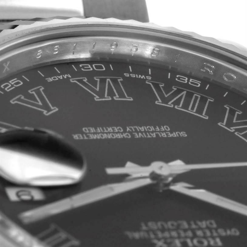 Rolex Datejust II Mens Steel 18K White Gold Dark Grey Dial Watch 116334 SwissWatchExpo