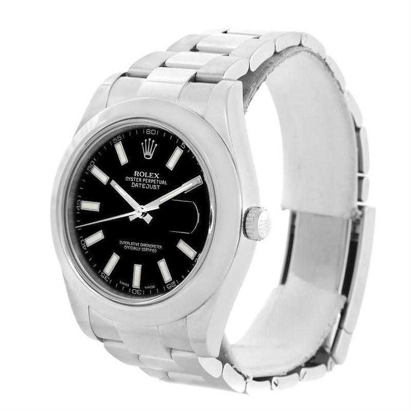 Rolex Datejust II Black Dial Steel Mens Watch 116300 Box Papers SwissWatchExpo