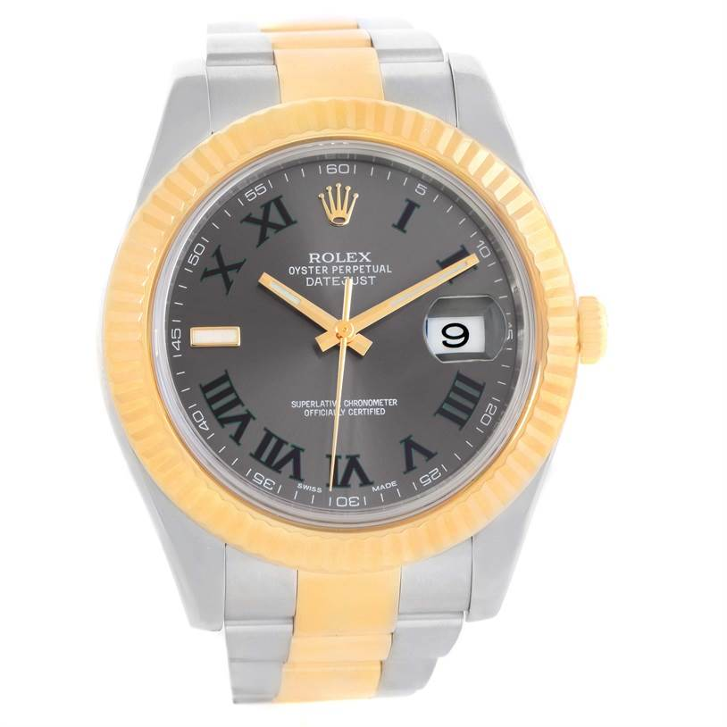 Rolex Datejust II Steel 18K Yellow Gold Grey Dial Watch 116333 Unworn SwissWatchExpo