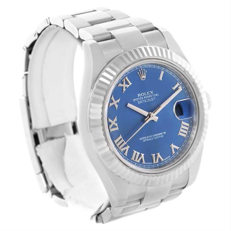 Rolex Datejust II Steel 18K White Gold Blue Dial Watch 116334 Unworn SwissWatchExpo