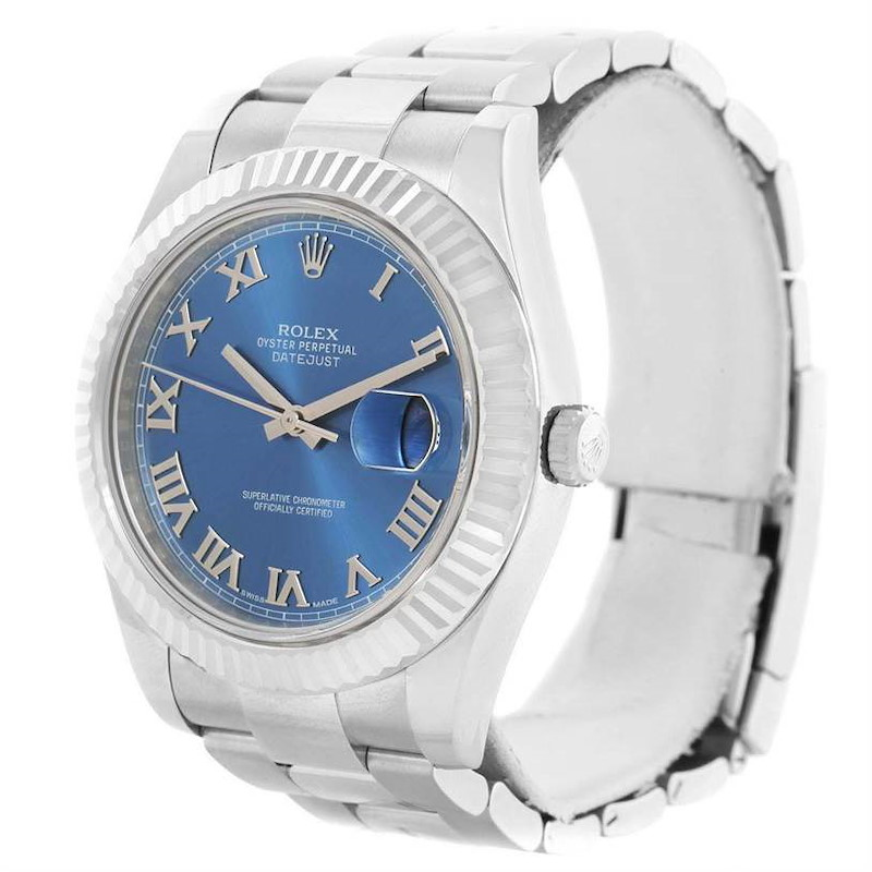 Rolex Datejust II Steel 18K White Gold Blue Roman Dial Watch 116334 SwissWatchExpo