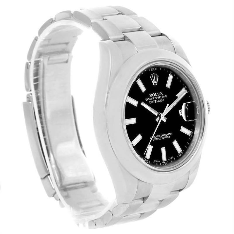 Rolex Datejust II Black Dial Oyster Bracelet Watch 116300 Box Papers SwissWatchExpo