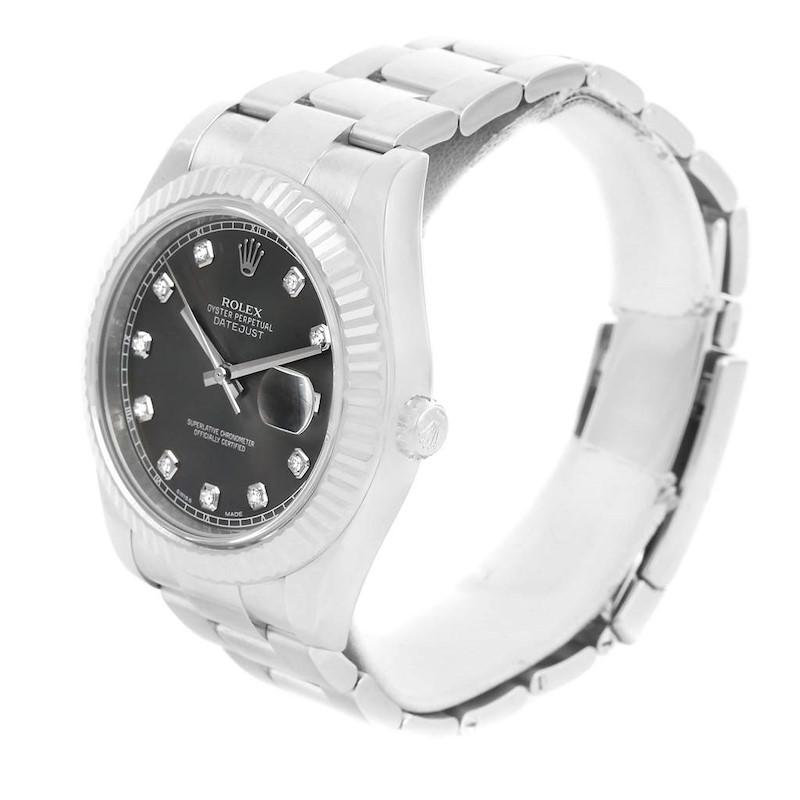 Rolex Datejust II Steel 18K White Gold Diamond Mens Watch 116334 SwissWatchExpo