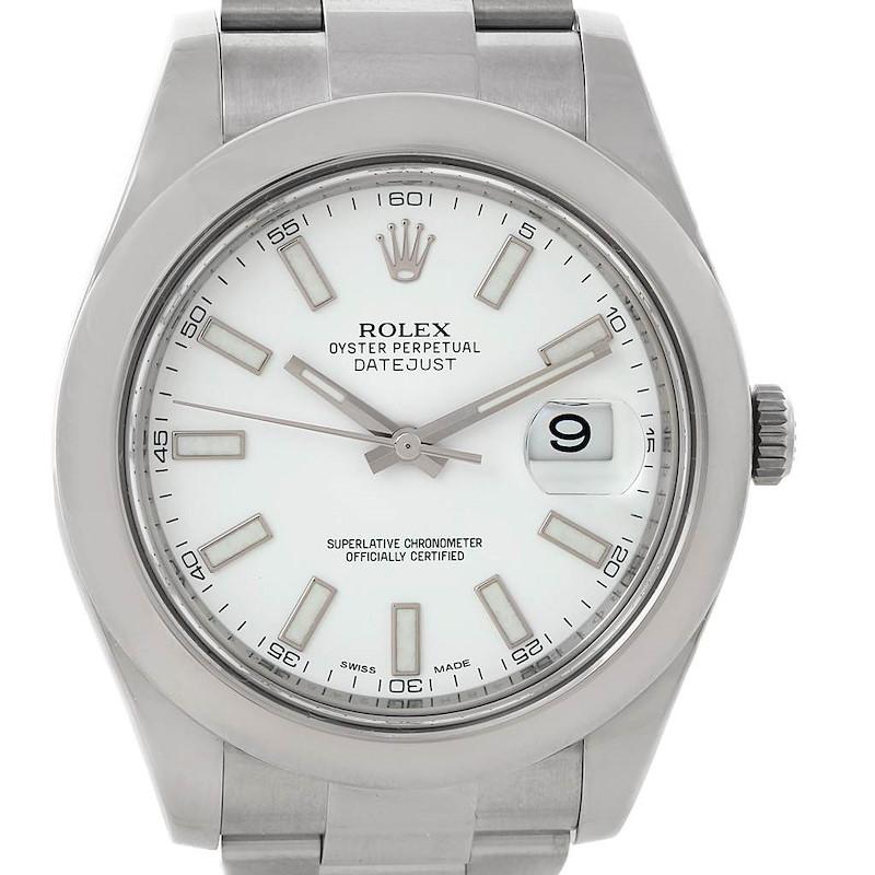 Rolex Datejust II White Baton Dial Steel Mens Watch 116300 SwissWatchExpo