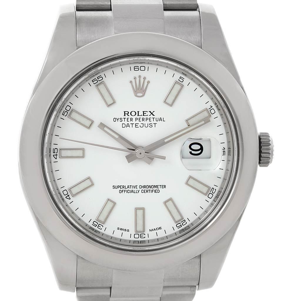 13480 Rolex Datejust II White Baton Dial Steel Mens Watch 116300  SwissWatchExpo