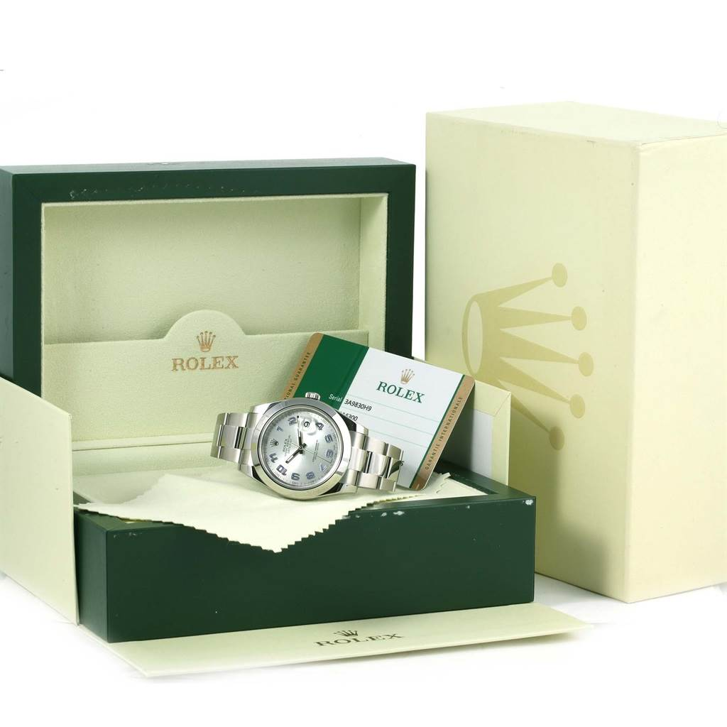 Rolex Datejust II Silver Arabic Dial Mens Watch 116300 Box Papers SwissWatchExpo