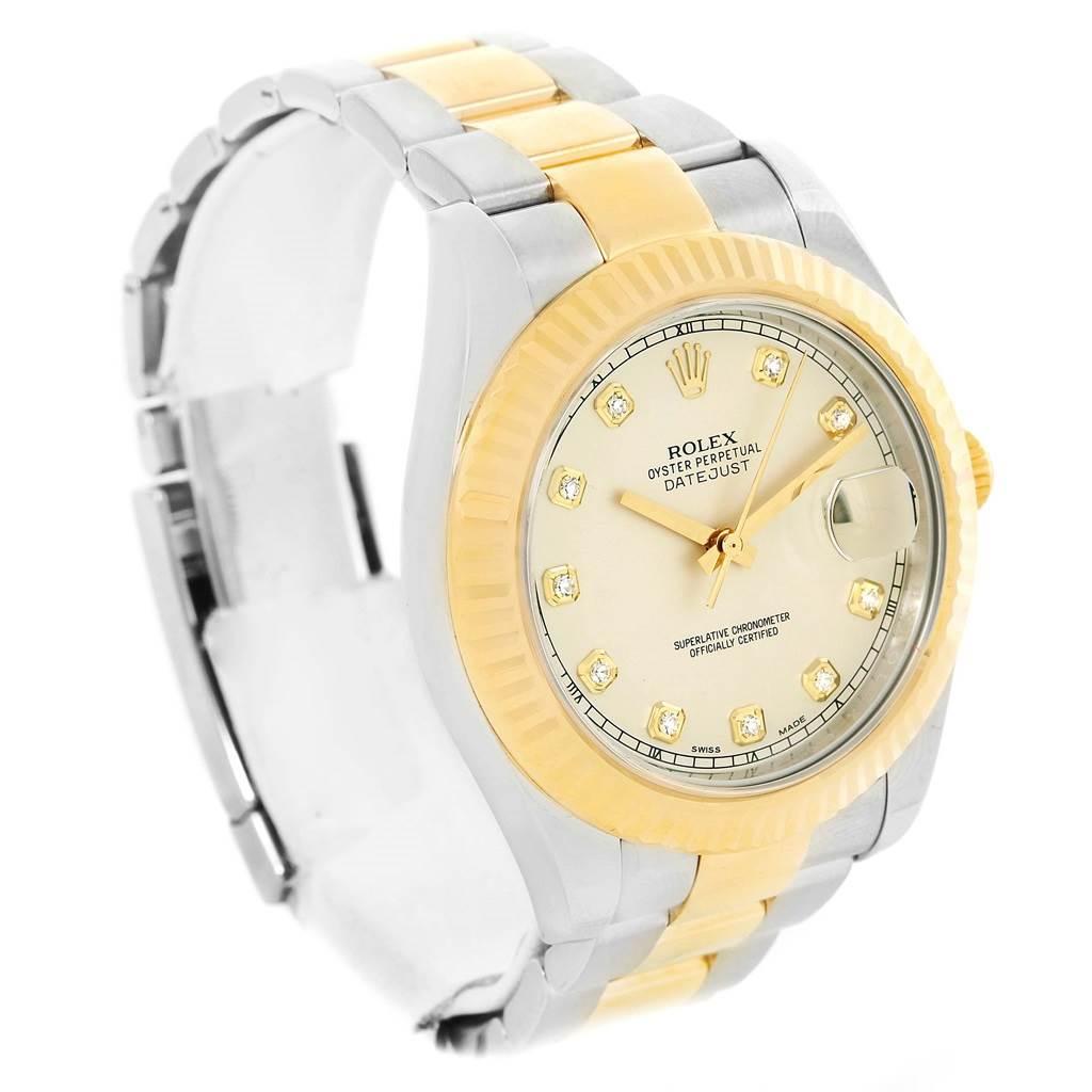 Rolex Datejust II Steel Yellow Gold Ivory Diamond Dial Watch 116333 SwissWatchExpo