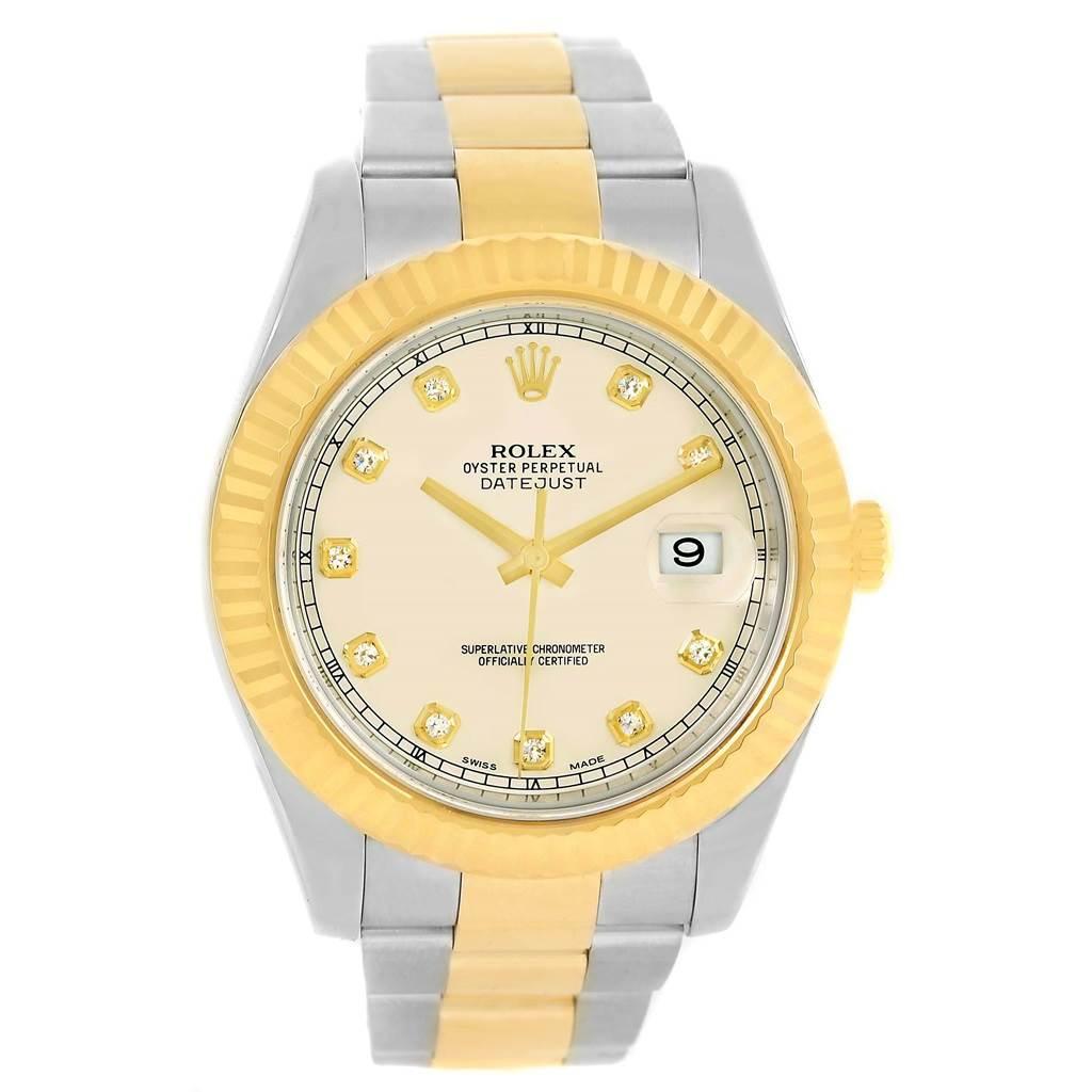 Rolex Datejust II Steel Yellow Gold Diamond Dial Watch 116333 Box Card SwissWatchExpo