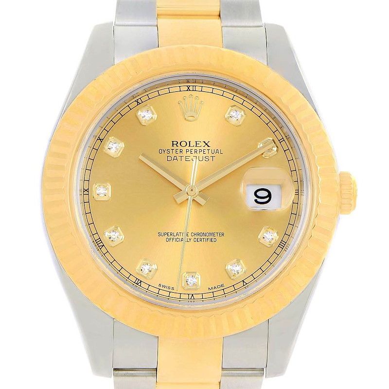 Rolex Datejust II Steel 18K Yellow Gold Diamond Mens Watch 116333 SwissWatchExpo