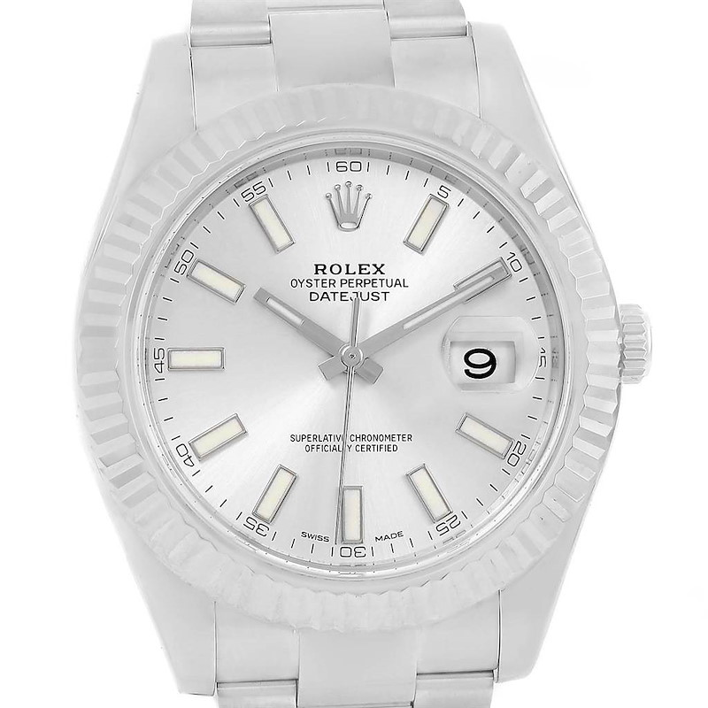 Rolex Datejust II Steel White Gold Silver Dial Watch 116334 Box Papers SwissWatchExpo
