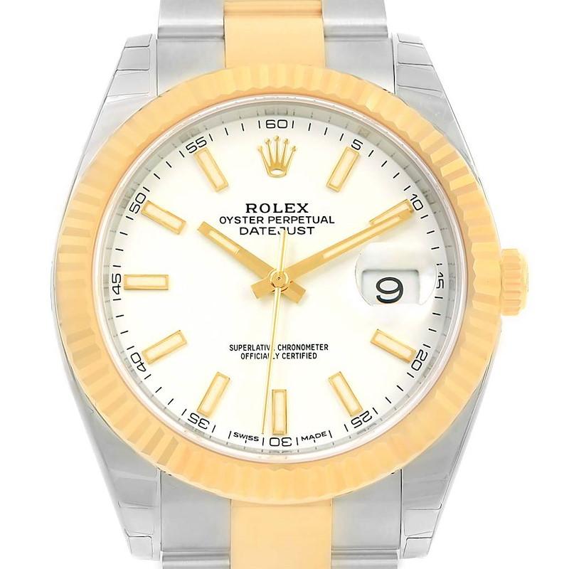 Rolex Datejust 41 Steel 18K Yellow Gold White Dial Watch 126333 Unworn SwissWatchExpo