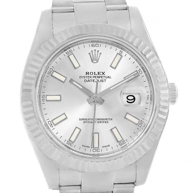 Rolex Datejust II Steel White Gold Silver Baton Dial Watch 116334 SwissWatchExpo