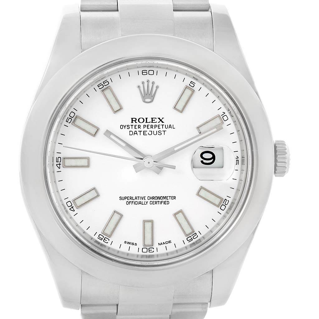 14431 Rolex Datejust II White Baton Dial Steel Mens Watch 116300 Unworn SwissWatchExpo
