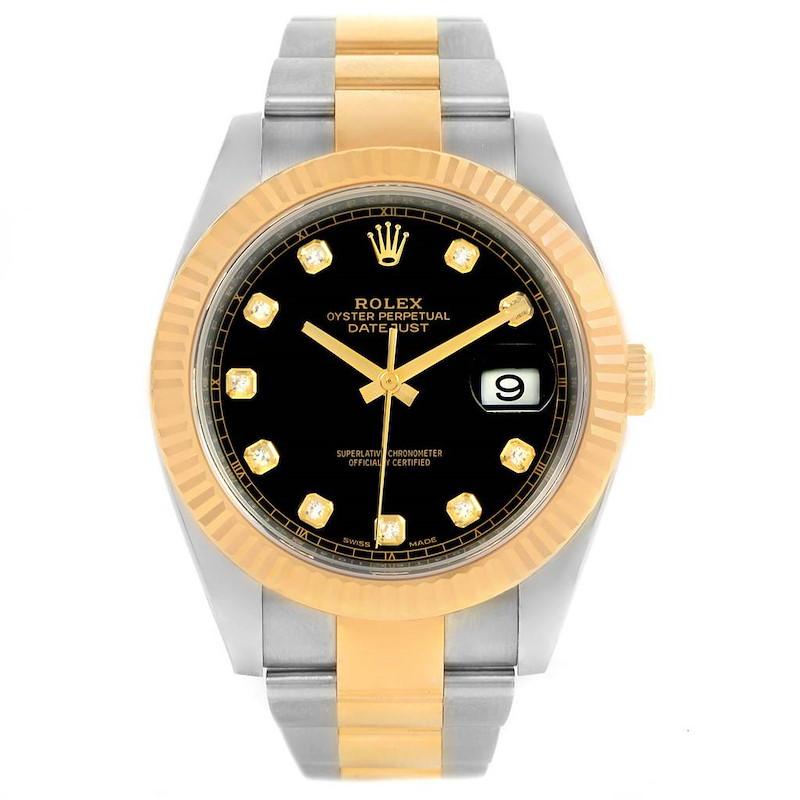 Rolex Datejust 41 Steel 18K Yellow Gold Black Diamond Dial Watch 126333 Box papers SwissWatchExpo