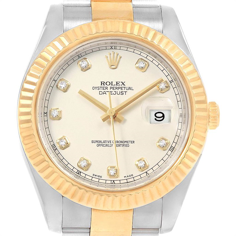 Rolex Datejust II Steel Yellow Gold Diamond Watch 116333 Box Papers SwissWatchExpo