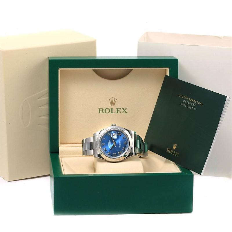 Rolex Datejust II Blue Dial Stainless Steel Mens Watch 116300 SwissWatchExpo