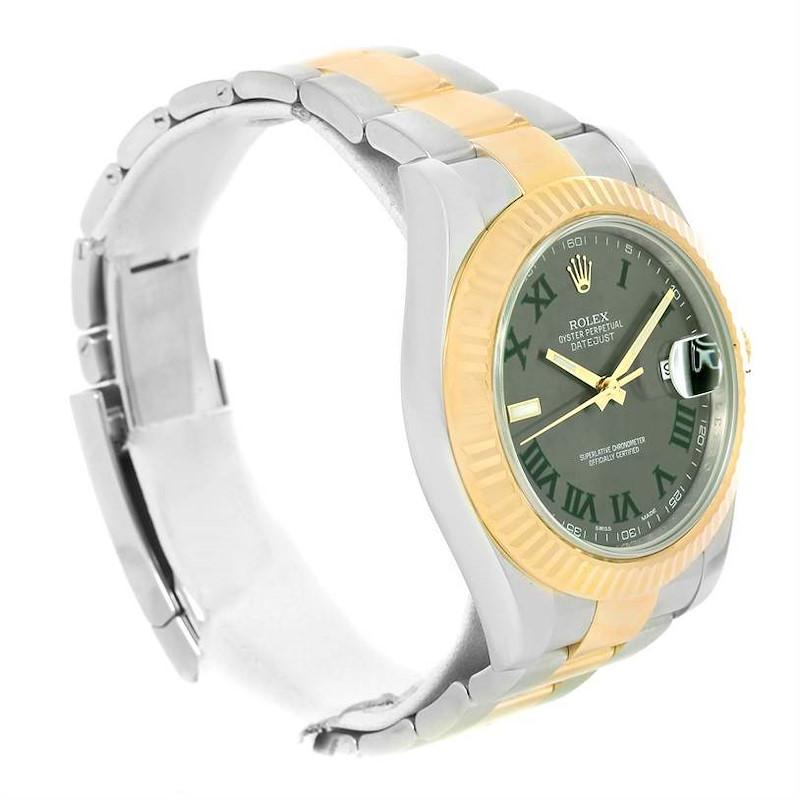 Rolex Datejust II Steel Yellow Gold Green Roman Watch 116333 (Partial Payment) SwissWatchExpo