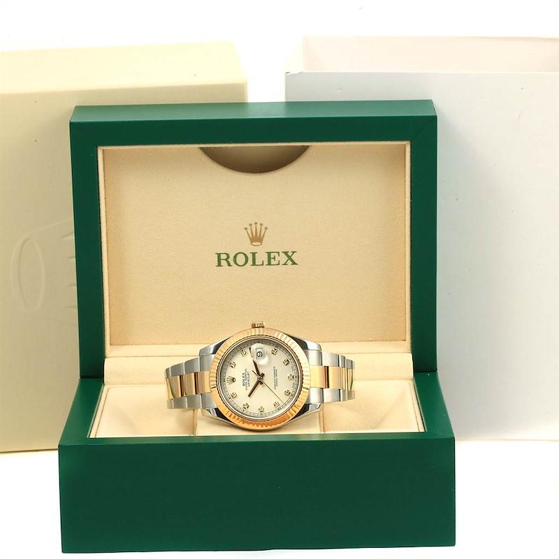 Rolex Datejust II Steel Yellow Gold Silver Diamond Dial Mens Watch 116333 SwissWatchExpo