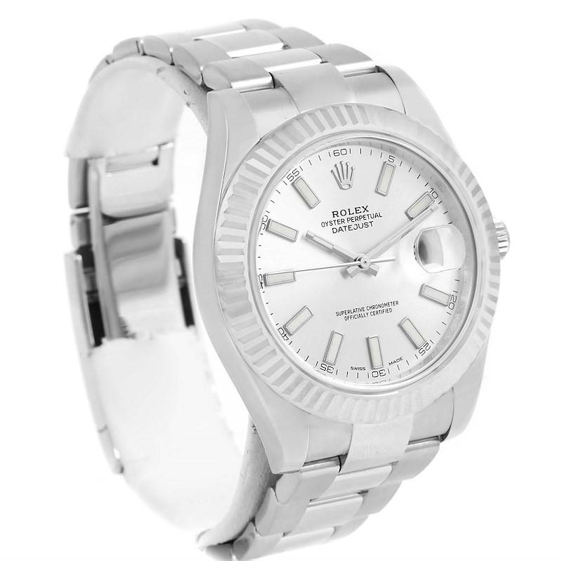 Rolex Datejust II Steel White Gold 41mm Mens Watch 116334 Box Card SwissWatchExpo
