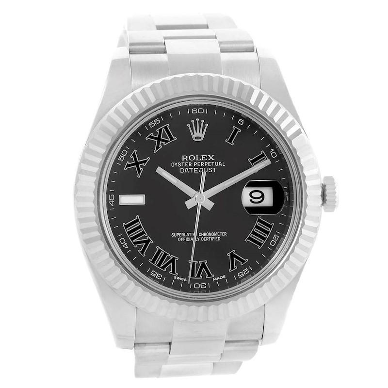 Rolex Datejust II Steel Whtie Gold Grey Dial Mens Watch 116334 Box Card SwissWatchExpo