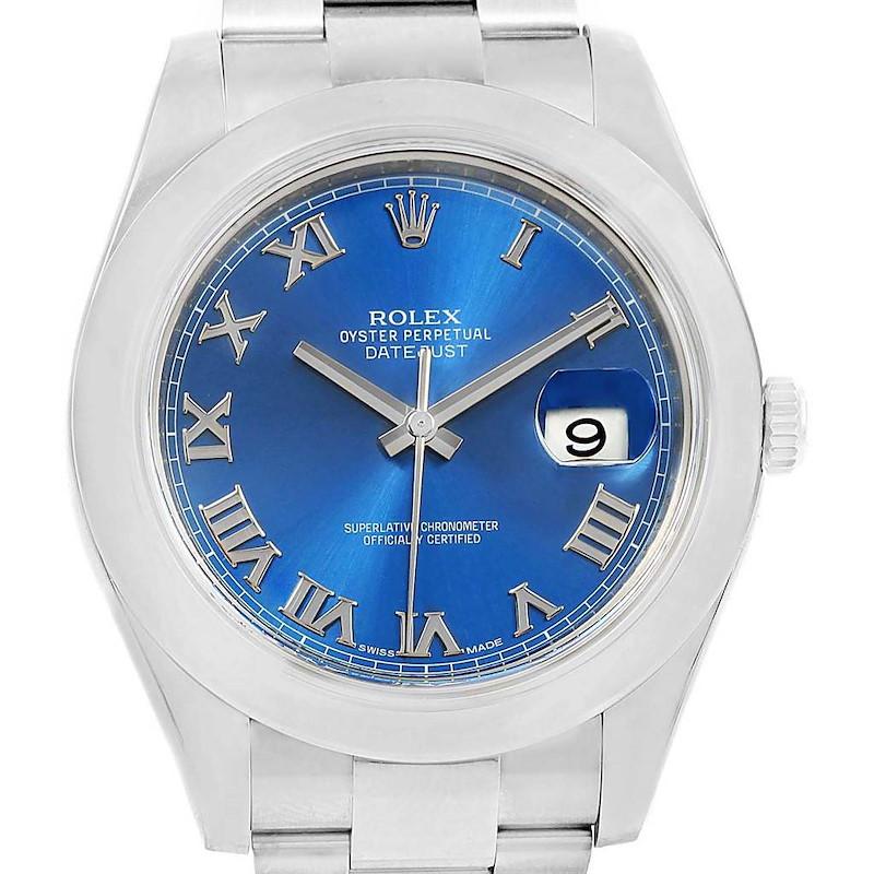 Rolex Datejust II Blue Roman Dial Steel Mens Watch 116300 Box Papers SwissWatchExpo