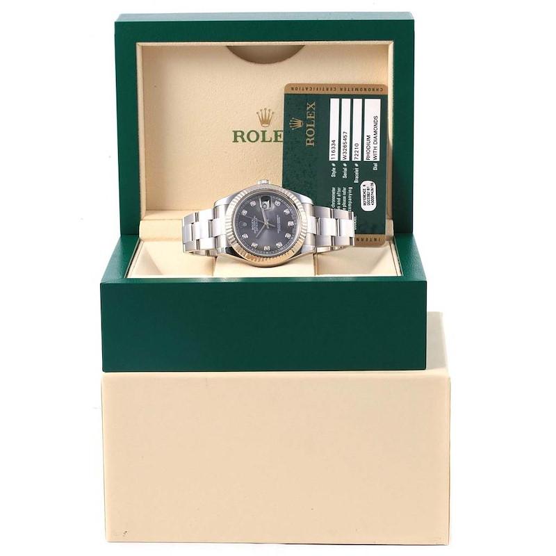 Rolex Datejust II Steel White Gold Diamond Mens Watch 116334 Box Card SwissWatchExpo