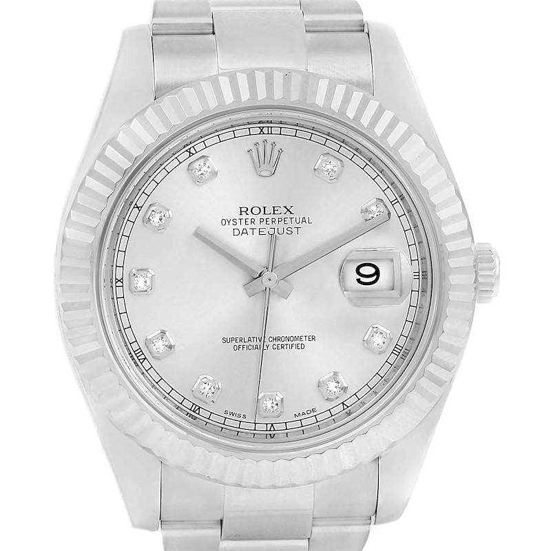 Rolex Datejust II Steel White Gold Silver Diamond Dial Watch 116334 SwissWatchExpo