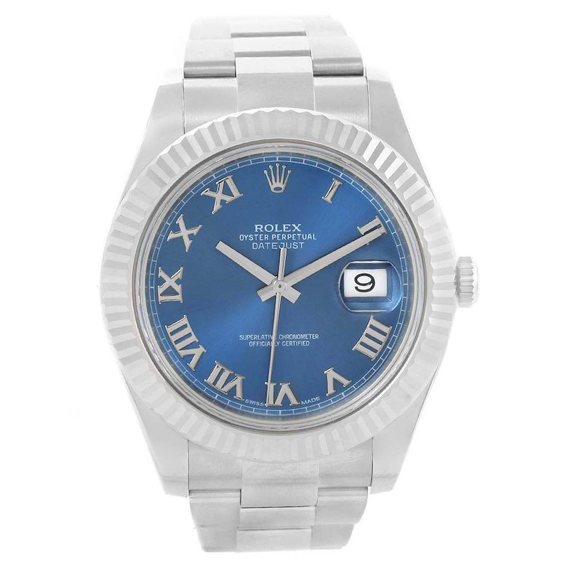 Rolex Datejust II Steel White Gold Blue Dial Mens Watch 116334 Box Card SwissWatchExpo