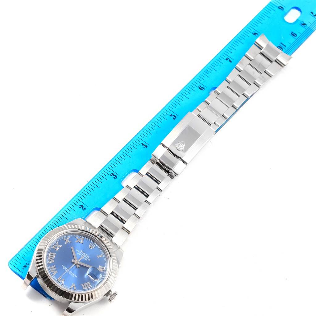 Rolex Datejust II Steel White Gold Blue Roman Dial Mens Watch 116334 SwissWatchExpo