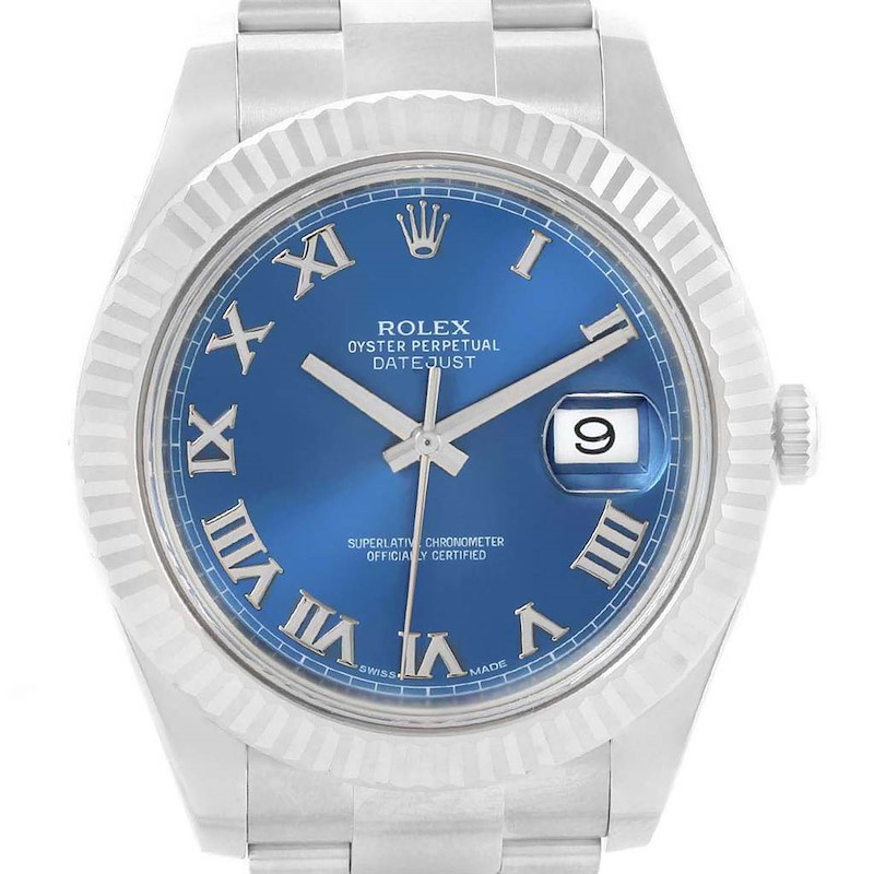 Rolex Datejust II Steel White Gold Blue Dial Mens Watch 116334 Unworn SwissWatchExpo