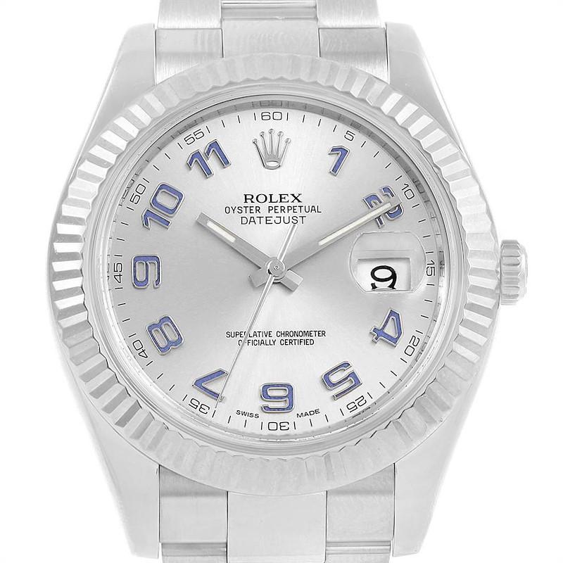 Rolex Datejust II Steel White Gold Blue Arabic Numerals Watch 116334 SwissWatchExpo