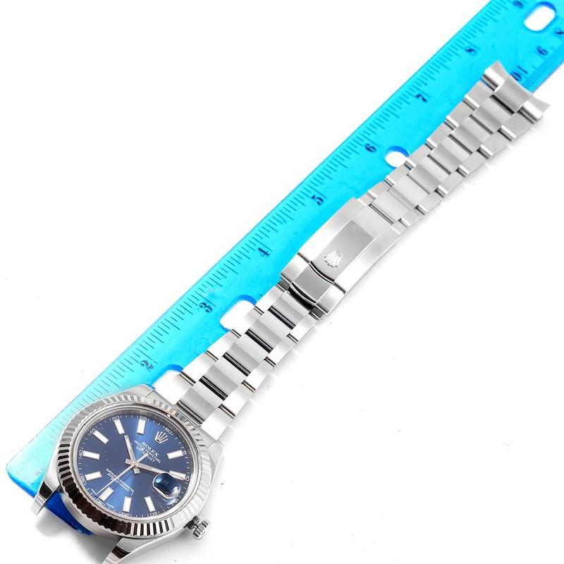 Rolex Datejust II Steel White Gold Blue Baton Dial Mens Watch 116334 SwissWatchExpo