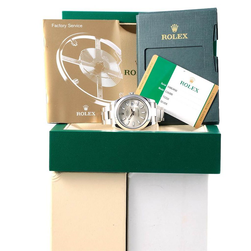 Rolex Datejust II Silver Dial Steel Mens Watch 116300 Box Card SwissWatchExpo