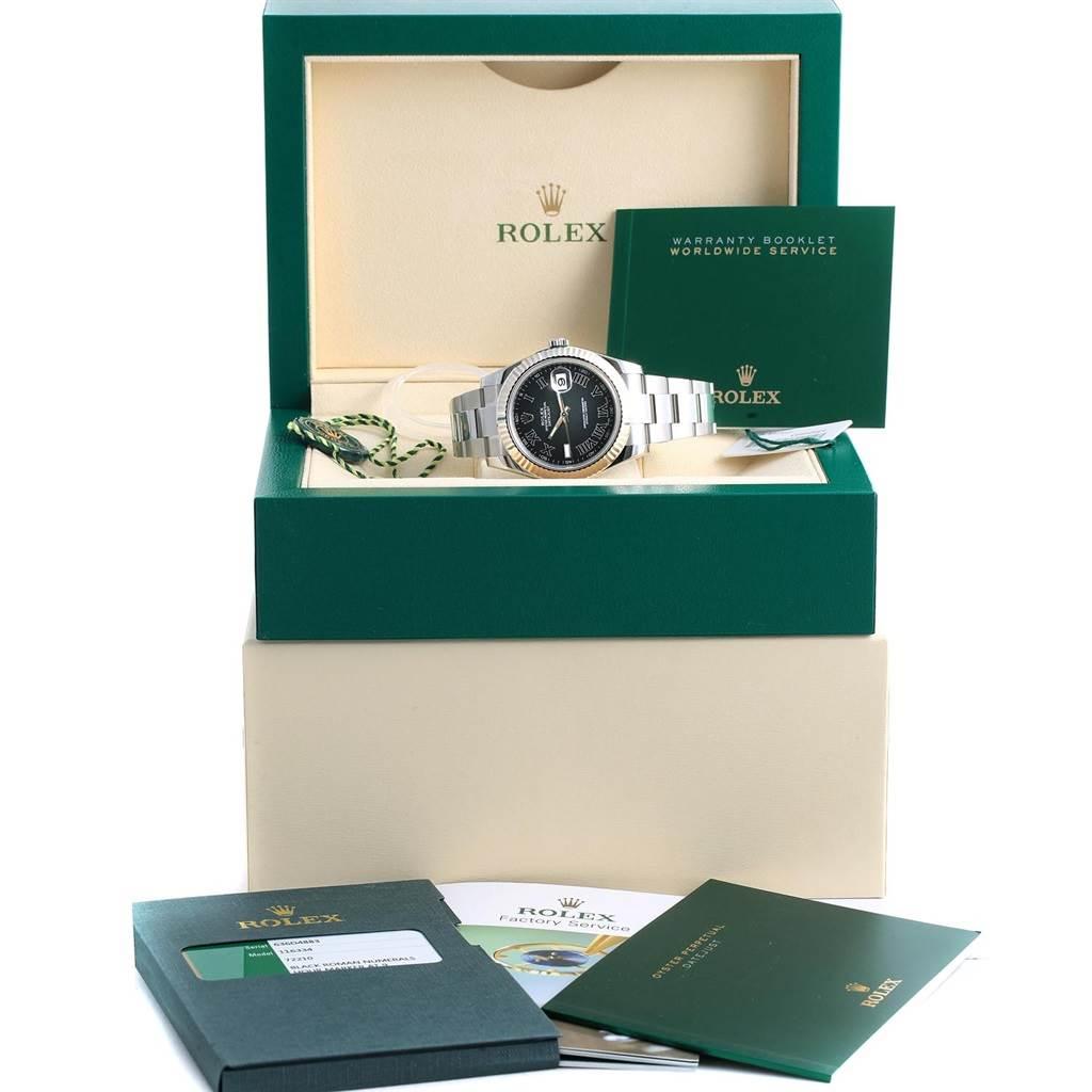 Rolex Datejust II Steel White Gold Grey Dial Mens Watch 116334 Unworn SwissWatchExpo