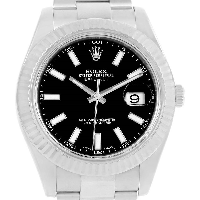 Rolex Datejust II Steel White Gold Black Dial Mens Watch 116334 Box SwissWatchExpo