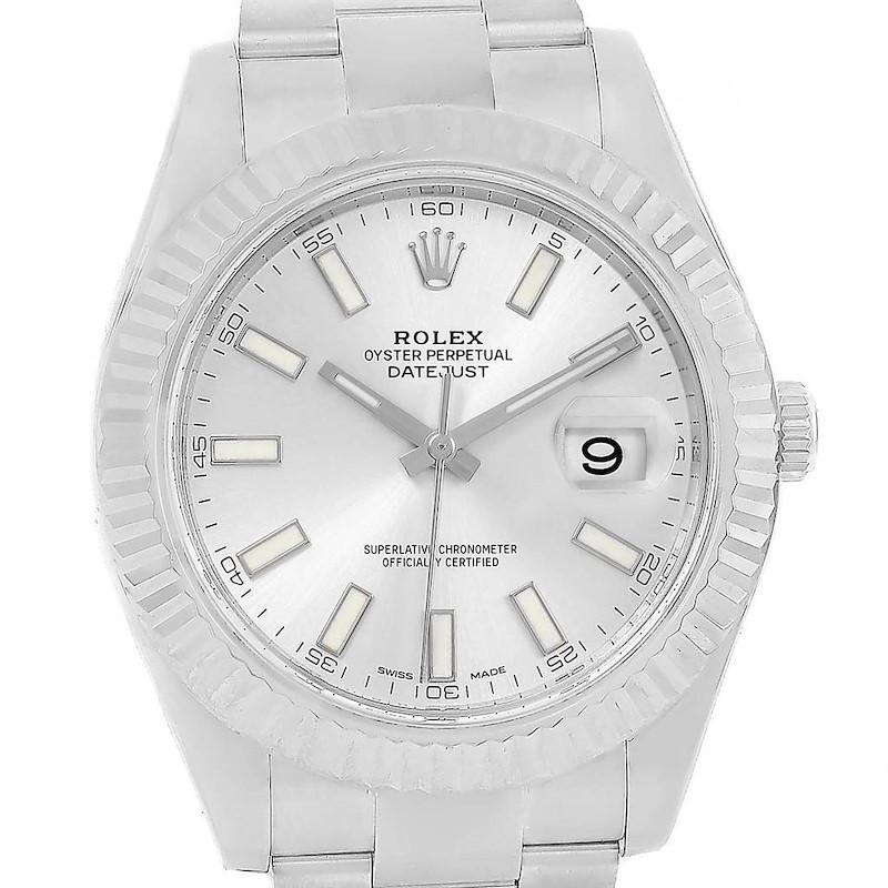Rolex Datejust II Steel White Gold Silver Dial Mens Watch 116334 Box SwissWatchExpo