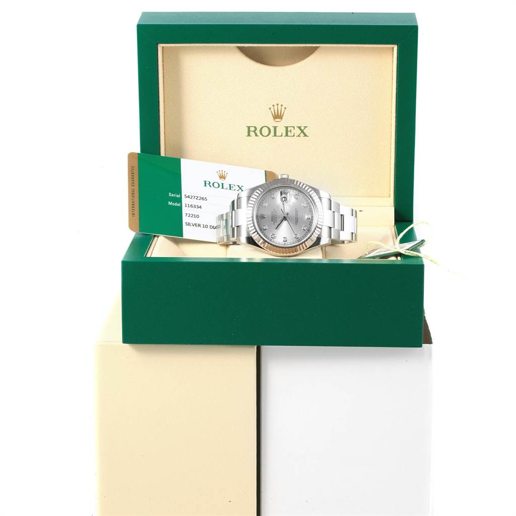 Rolex Datejust II Steel White Gold Diamond Mens Watch 116334 Box Card SwissWatchExpo