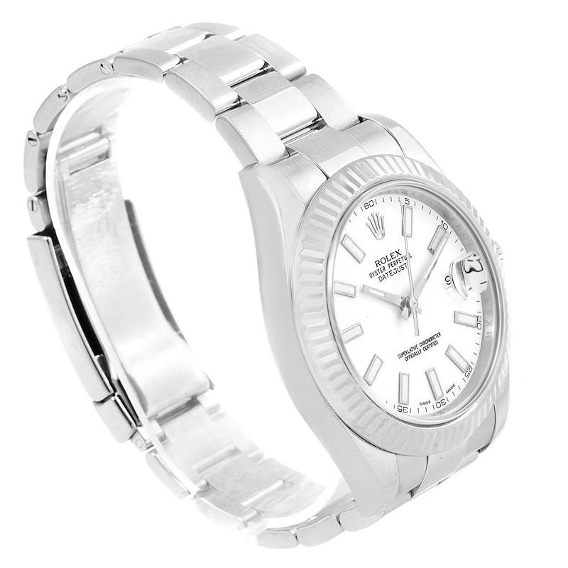 Rolex Datejust II Steel White Gold White Dial Mens Watch 116334 Box Card SwissWatchExpo