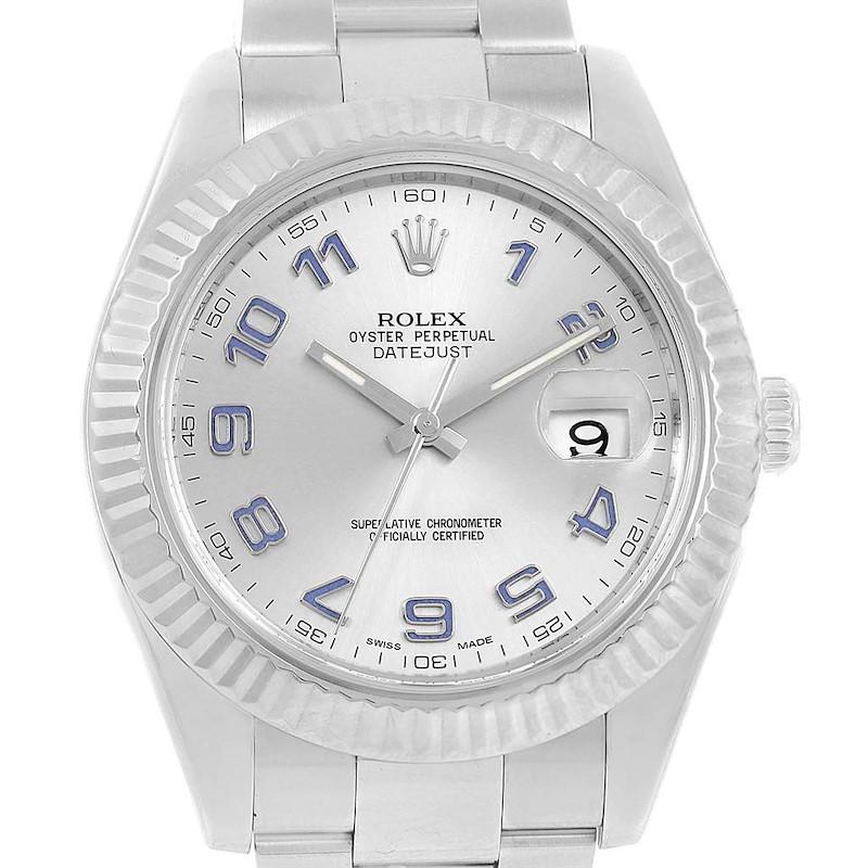 Rolex Datejust II 41 Steel White Gold Blue Arabic Numerals Watch 116334 SwissWatchExpo